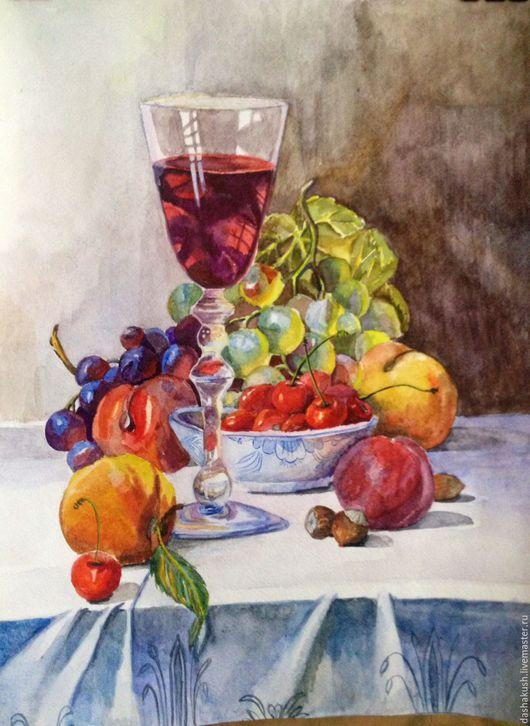 Натюрморт ручной работы. Ярмарка Мастеров - ручная работа. Купить Натюрморт с вином. Handmade. Натюрморт, вино, яркий, кухонный интерьер
