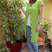Одежда ручной работы. Ярмарка Мастеров - ручная работа Жилет длинный Салатовый. Handmade.