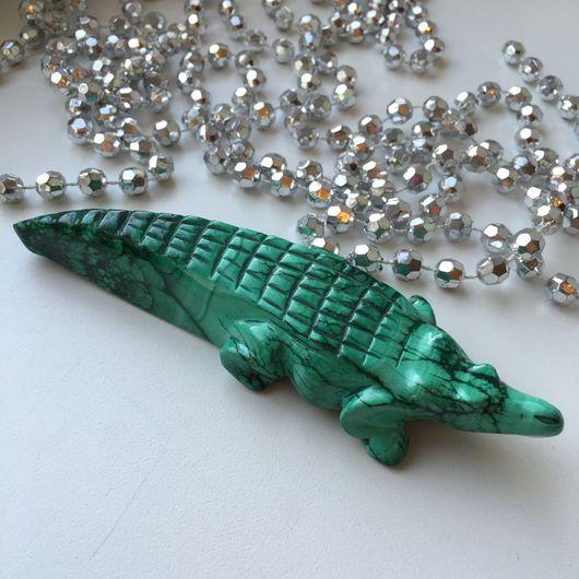 Статуэтки ручной работы. Ярмарка Мастеров - ручная работа. Купить Крокодил из натурального Малахита. Крокодильему из камня. Handmade. Малахит, статуэтка
