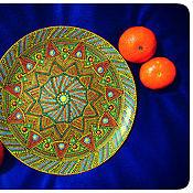"""Посуда ручной работы. Ярмарка Мастеров - ручная работа Тарелка стеклянная """"Желтое настроение"""". Точечная роспись. Handmade."""