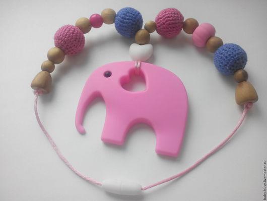 Слингобусы ручной работы. Ярмарка Мастеров - ручная работа. Купить Слингобусы Розовый слоник. Handmade. Розовый, слингобусы, вязаные бусы