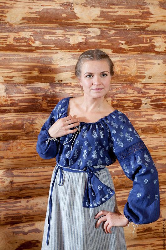 Платья ручной работы. Ярмарка Мастеров - ручная работа. Купить Платье синее с набойкой полосатая юбка. Handmade. Тёмно-синий