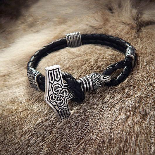 Кожаный Браслет Молот Тора  серебро, подарок мужчине на день рождения
