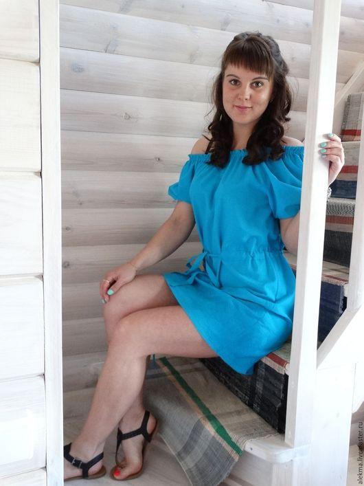 Платья ручной работы. Ярмарка Мастеров - ручная работа. Купить платье летнее в деревенском стиле из хлопка с вышивкой Голубая гладь. Handmade.