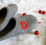 Обувь ручной работы. Ярмарка Мастеров - ручная работа Валяные мужские тапочки День святого Валентина. Handmade.