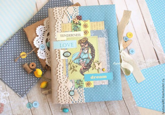 """Блокноты ручной работы. Ярмарка Мастеров - ручная работа. Купить Блокнот-дневник """"Таинственный сад"""". Handmade. Голубой"""