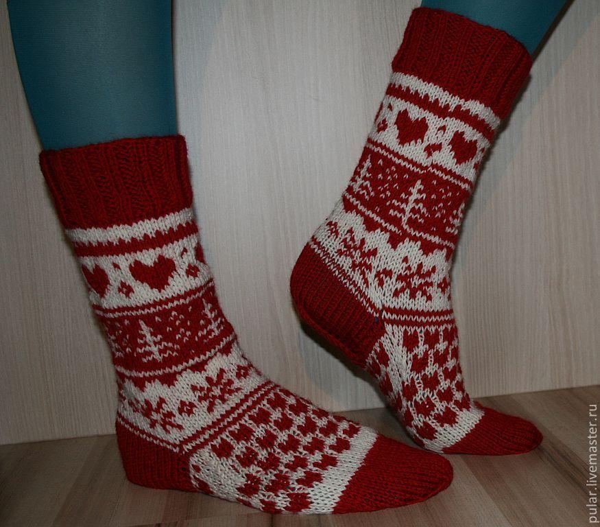 Носки, Чулки ручной работы. Ярмарка Мастеров - ручная работа. Купить носки шерстяные Санта Клаус. Handmade. Новый Год