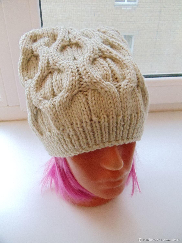Вязание шапочки женской с косами 13