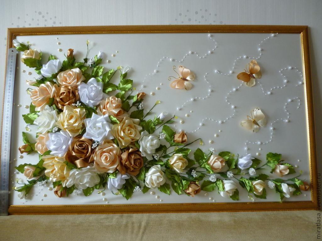 Атласные цветы своими руками картины
