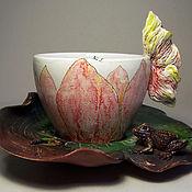 """Посуда ручной работы. Ярмарка Мастеров - ручная работа Чайная пара """"Лотос"""". Handmade."""