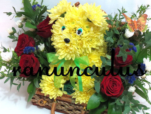 Букеты ручной работы. Ярмарка Мастеров - ручная работа. Купить Собака из цветов. Handmade. Комбинированный, собачка, песик, игрушка из цветов