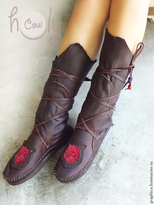 """Обувь ручной работы. Ярмарка Мастеров - ручная работа. Купить Уникальные кожаные мокасины """"Hmong Pink Beauty"""". Handmade. Коричневый"""