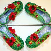 """Обувь ручной работы. Ярмарка Мастеров - ручная работа Валяные тапочки """"Маковые"""". Handmade."""