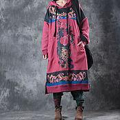 Одежда ручной работы. Ярмарка Мастеров - ручная работа Весеннее красное платье большого размера / с капюшоном. Handmade.