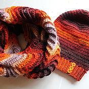 Аксессуары ручной работы. Ярмарка Мастеров - ручная работа Комплект из шапочки и снуда на осень. Handmade.
