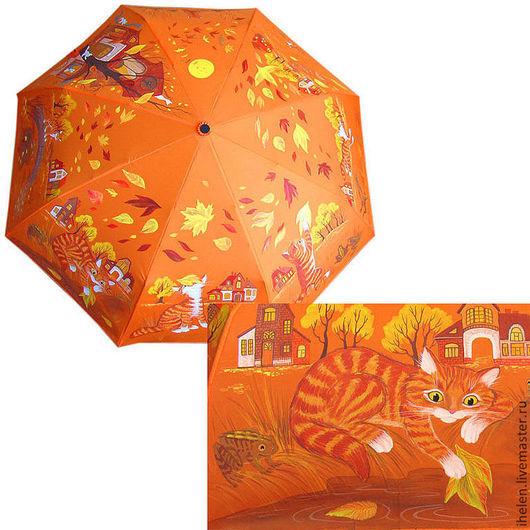 """Зонты ручной работы. Ярмарка Мастеров - ручная работа. Купить Зонт """"Ты будешь птицей"""". Handmade. Рыжий, кошка, зонт"""