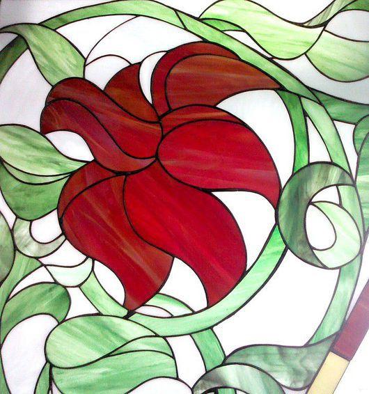 Элементы интерьера ручной работы. Ярмарка Мастеров - ручная работа. Купить Алые Цветы. Витраж. Handmade. Витраж Тиффани