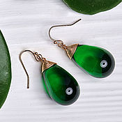 handmade. Livemaster - original item Large emerald drop earrings in 24K gold. Handmade.