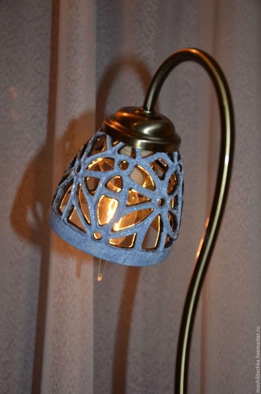 """Освещение ручной работы. Ярмарка Мастеров - ручная работа. Купить Настольная лампа """"Голубой дракон"""". Handmade. Голубой, настольный светильник"""