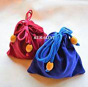 Мешочек-кисет для подарка, синий и бордовый, разных размеров