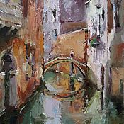 Картины и панно handmade. Livemaster - original item Oil painting on canvas Venice (terracotta green Canal). Handmade.