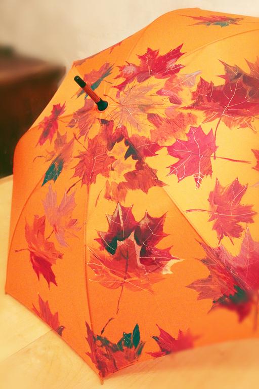 """Зонты ручной работы. Ярмарка Мастеров - ручная работа. Купить Зонт с ручной росписью """"Осенние листья"""". Handmade. Оранжевый"""