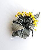 Украшения handmade. Livemaster - original item Spotlight Leather Flower Brooch grey with yellow stamens. Handmade.