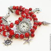 """Украшения ручной работы. Ярмарка Мастеров - ручная работа """"Красное море"""" - часы-браслет. Handmade."""