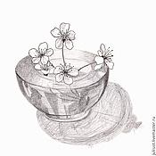 Картины и панно ручной работы. Ярмарка Мастеров - ручная работа Картина Майский пустячок, рисунок карандашом серый белый цветы вишни. Handmade.