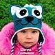 Шапки и шарфы ручной работы. Шапка кошка с цветами. Прикольные детские шапки крючком. Ярмарка Мастеров. Теплая