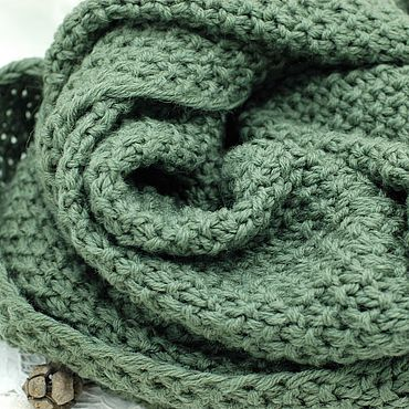 Accessories handmade. Livemaster - original item Scarves: Scarf Snood pure wool knitted warm olive. Handmade.