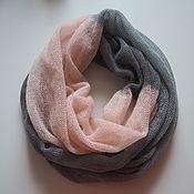 Аксессуары handmade. Livemaster - original item Snudy: Snood knitted 2 turns of kid mohair gray-pink. Handmade.