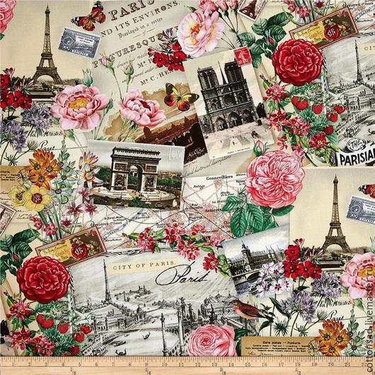 """Шитье ручной работы. Ярмарка Мастеров - ручная работа. Купить Ткань Хлопок (4 вида).""""Весна в Париже"""". Американский 100%.. Handmade."""