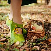 """Обувь ручной работы. Ярмарка Мастеров - ручная работа Валяные туфельки """"Осенняя свежесть"""". Handmade."""