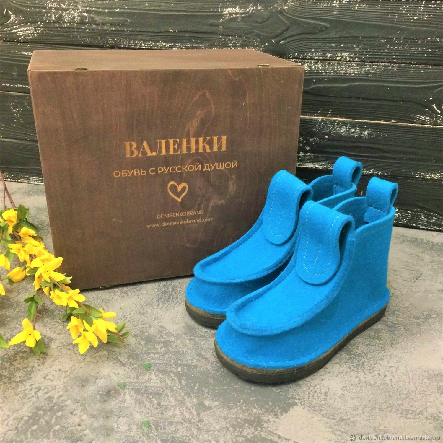 Boots bright turquoise, in a gift box, Felt boots, Moscow,  Фото №1