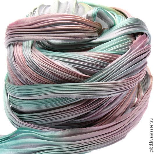 Для украшений ручной работы. Ярмарка Мастеров - ручная работа. Купить Шелковая лента Шибори (Shibori) цвет Silver Lining. Handmade.