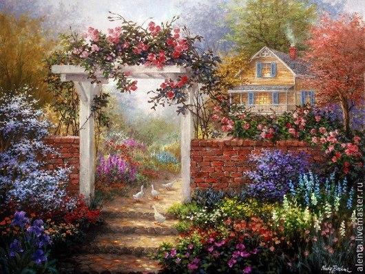 Вышивка ручной работы. Ярмарка Мастеров - ручная работа. Купить Принт. Красивый сад у дома. Handmade. Разноцветный, принт, принты