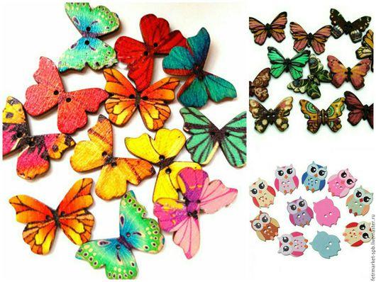 Другие виды рукоделия ручной работы. Ярмарка Мастеров - ручная работа. Купить Бабочки и Совы пуговицы дерево. Handmade. Комбинированный