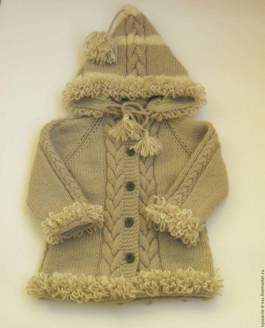 Одежда для девочек, ручной работы. Ярмарка Мастеров - ручная работа. Купить Пальто вязаное детское. Handmade. Бежевый, пальто вязаное