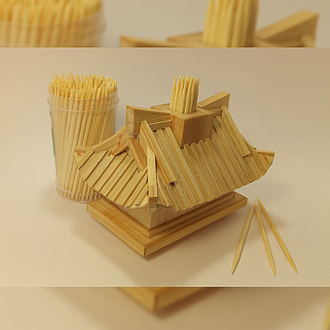 Для дома и интерьера ручной работы. Ярмарка Мастеров - ручная работа Подставка для зубочисток Чайный домик, дерево можжевельник. Handmade.