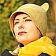 """Шляпы ручной работы. Ярмарка Мастеров - ручная работа. Купить Шляпка с ушками """"Color clary sage"""".. Handmade. Оливковый"""