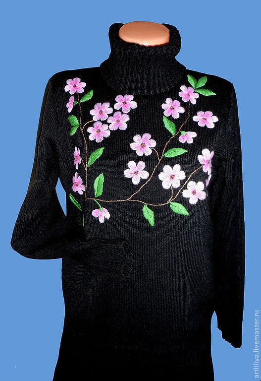 Кофты и свитера ручной работы. Ярмарка Мастеров - ручная работа. Купить джемпер вязаный женский  Цвет сакуры с вышивкой. Handmade.