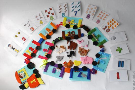 Развивающие игрушки ручной работы. Ярмарка Мастеров - ручная работа. Купить Развивающая игрушка Паровозик из фетра Учим цифры. Handmade.