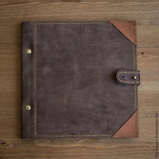 Персональные подарки ручной работы. Ярмарка Мастеров - ручная работа. Купить Скетчбук блокнот из натуральной кожи на кобурной кнопке. Handmade.