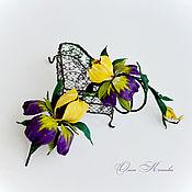 Украшения handmade. Livemaster - original item Yellow Purple irises brooch and leather bracelet set. Handmade.