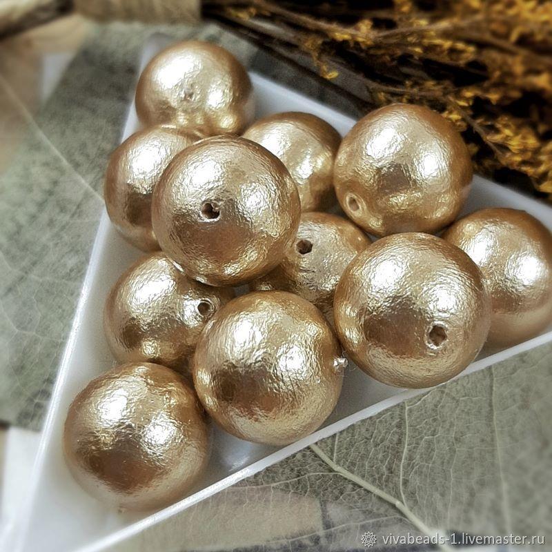 1 PCs. Pearl cotton beige 14mm Japan (3932-14), Beads1, Voronezh,  Фото №1