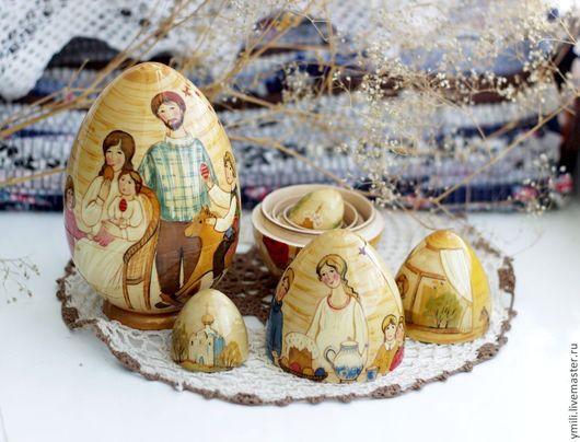 яйцо пасхальное авторское , 5мест, подарок на пасху семье, детям. дерево , роспись.