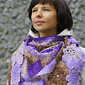 Аксессуары handmade. Livemaster - original item Knitted shawl scarf for women warm laced Purple leaves. Handmade.