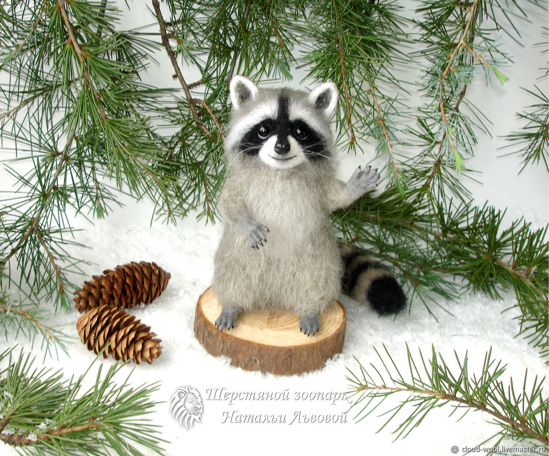 Крошка Енот - енотик - сухое валяние из шерсти (raccoon), Войлочная игрушка, Сочи,  Фото №1