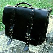 Brief case handmade. Livemaster - original item Portfolio: Leather messenger bag CHARLIE black. Handmade.